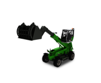 SENNEBOGEN telehandler 355 E with hold down shovel and elevating cab