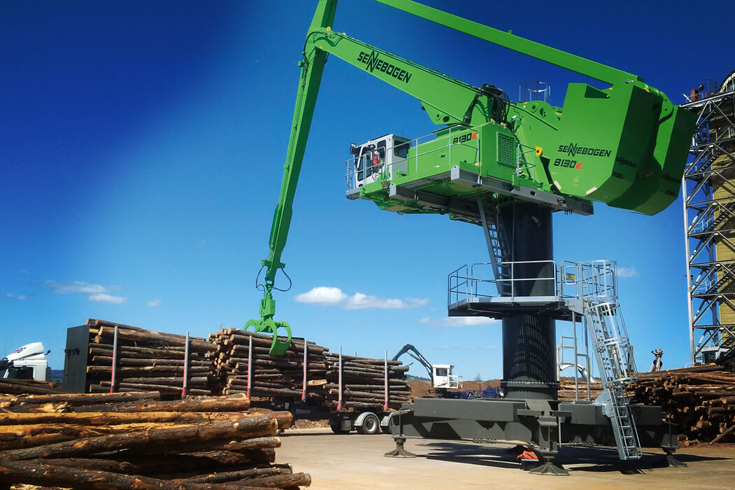 SENNEBOGEN balance material handler timber handler balancer 8130 EQ timber handling log yard saw mill timber grab