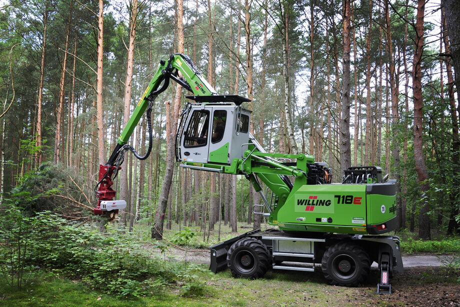 SENNEBOGEN 718 E material handler Forestry material handler Harvester Embankment care Problem tree removal Landscape conservation Tree trunks Tree felling