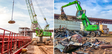 SENNEBOGEN 821 Mobile and 640 HD Crawler - A dream team in the Port of Constanta to load and compact scrap