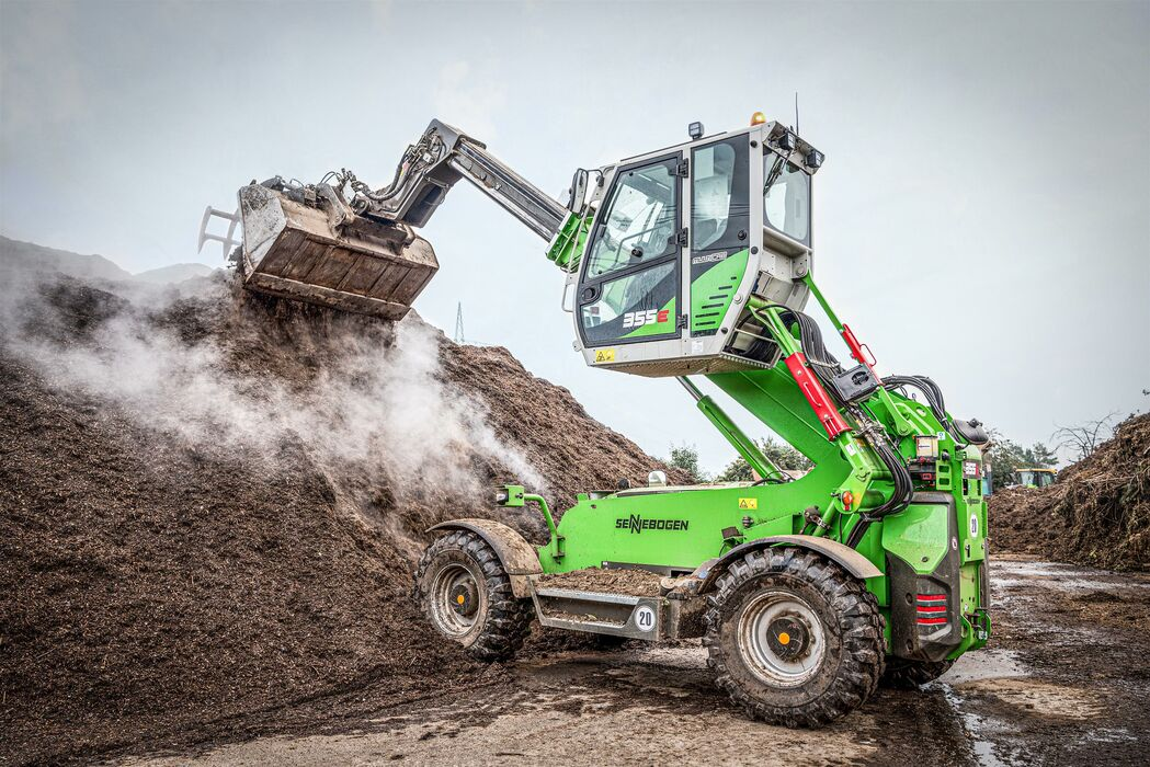 Telehandler Teleloader SENNEBOGEN 355 E compost green waste recycling composting plant hold down shovel